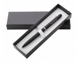 Kovové kuličkové pero CAMPBELL s pogumovaným povrchem - černá
