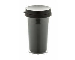 Plastový dvouplášťový termohrnek DOPPLER, 250 ml - transparentní / černá