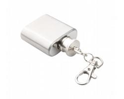 Kovový přívěsek na klíče NORGE s mini-butylkou, 25 ml - stříbrná
