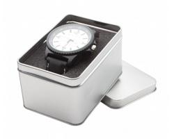Značkové pánské hodinky SOLDAT v plechové krabičce - černá / stříbrná