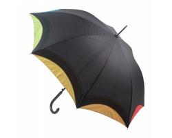 Automatický deštník ARCUS s duhovým okrajem - černá / vícebarevná
