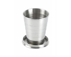 Kovový skládací pohárek NAUTILUS, 70 ml - stříbrná