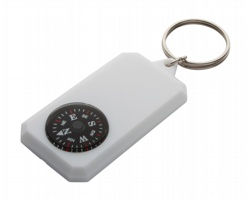 Plastový přívěsek na klíče s kompasem MAGELLAN - bílá