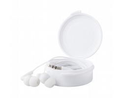 Plastová sluchátka do uší PROX v plastové krabičce - bílá