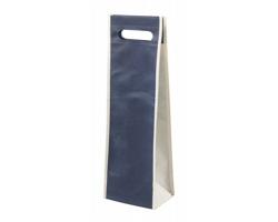 Dárková taška na víno DORADILLO z netkané textilie - tmavě modrá / béžová
