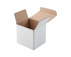 Papírová krabička na hrnky THREE - bílá / přírodní