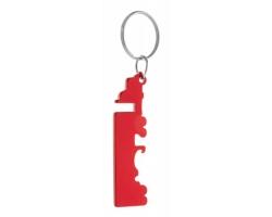 Kovový přívěsek na klíče PETERBY s otvírákem - červená