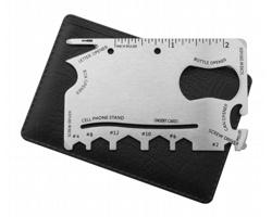 Nerezová multifunkční karta nářadí CASTAWAY, 15 funkcí - stříbrná