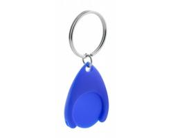 Plastový přívěsek na klíče NELLY s žetonem - modrá