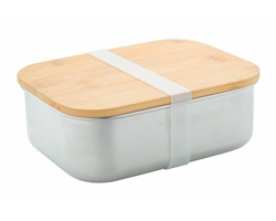 Kovový box na jídlo FERROCA s bambusovým víkem, 800 ml - stříbrná