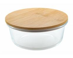 Skleněný box na jídlo RUTTATA s bambusovým víčkem, 650 ml - transparentní