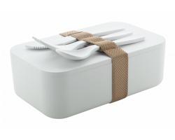 Plastová krabička na jídlo PLANCHE s příborem, 1000 ml - bílá