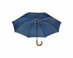 Automatický skládací deštník STANSED s dřevěnou rukojetí - modrá