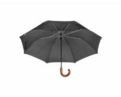 Automatický skládací deštník STANSED s dřevěnou rukojetí - černá