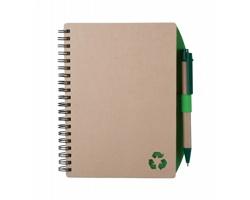 Recyklovaný poznámkový blok ZUKE s recyklovaným kuličkovým perem - přírodní