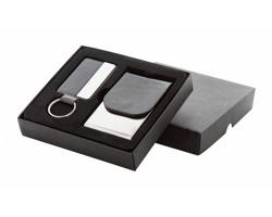 Sada kovové klíčenky a vizitkáře SESTO - černá