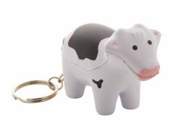 Antistresový přívěsek na klíče MILKY ve tvaru krávy - bílá / černá