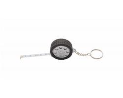 Přívěsek na klíče ve tvaru pneumatiky WHEEL se svinovacím metrem, 1 m - černá