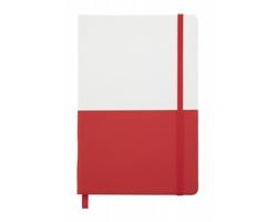 Poznámkový blok DUONOTE s deskami z PU kůže, formát A5 - červená / bílá
