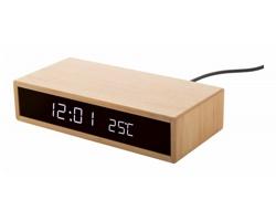 Bambusové hodiny s bezdrátovou nabíječkou MOLARM - přírodní