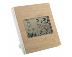 Plastová domácí meteostanice BOOCAST s bambusovým panelem - přírodní