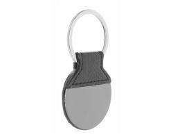 Kulatý kovový přívěsek na klíče REEL - černá / tmavě šedá