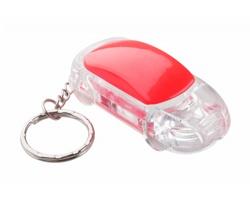 Plastový svítící přívěsek na klíče SKYWAY ve tvaru automobilu - červená