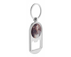 Kovový přívěsek na klíče BUBBLES s otvírákem lahví - stříbrná