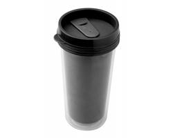 Plastový termohrnek POSTER, 450 ml - černá