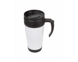Plastový termohrnek LES 2 ALPES, 450 ml - bílá / černá