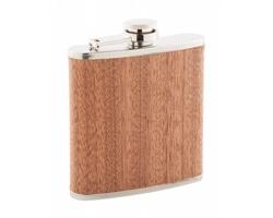 Nerezová butylka FORESTER s dřevěným povrchem, 170 ml - béžová / stříbrná