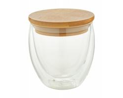 Skleněný termohrnek BONDINA S s bambusovým víčkem, 250 ml - transparentní / přírodní
