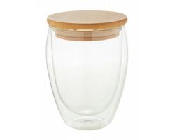 Skleněný termohrnek BONDINA M s bambusovým víčkem, 350 ml - transparentní / přírodní