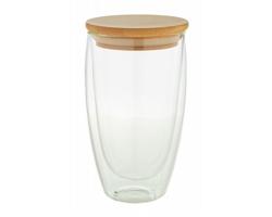 Skleněný termohrnek BONDINA L s bambusovým víčkem, 450 ml - transparentní / přírodní