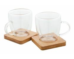 Sada skleněných šálků na espresso MOCABOO, 90 ml - transparentní / přírodní