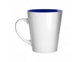Keramický hrnek SALO s barevným vnitřkem, 350 ml - bílá / modrá