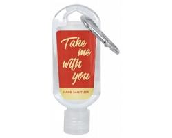 Dezinfekční gel v lahvičce s vlastní etiketou a karabinkou, 50 ml