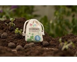 Reklamní semínka - Koule, 5 ks v bavlněném pytlíku s jednostranným potiskem