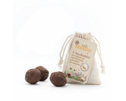 Reklamní semínka - Koule, 3 ks v bavlněném pytlíku s papírovou visačkou s oboustranným potiskem