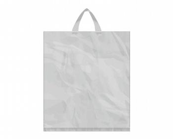 Náhled produktu Igelitová PE taška stříbrná - 400x460mm, páskové ucho a složené dno