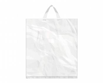 Náhled produktu Igelitová PE taška bílá - 400x460mm, páskové ucho a složené dno