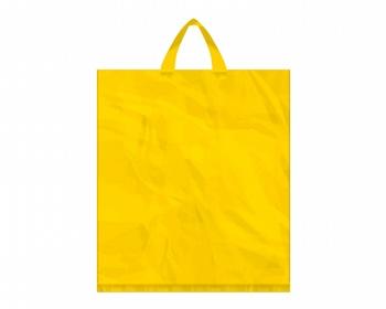 Náhled produktu Igelitová PE taška žlutá - 400x460mm, páskové ucho a složené dno