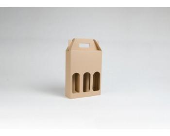 Náhled produktu Papírová krabice na 3 lahve piva BEERBOX NATURA - 21 x 27,5 x 7 cm - hnědá