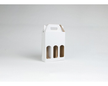 Náhled produktu Papírová krabice na 3 lahve piva BEERBOX WHITE - 21 x 27,5 x 7 cm - bílá