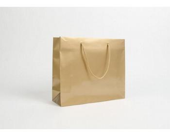 Náhled produktu Papírová taška LUX QUADRA - 32 x 27,5 x 10 cm - zlatá