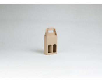 Náhled produktu Papírová krabice na 2 vinné miniatury MINI NATURA - 12 x 18,5 x 6 cm - hnědá