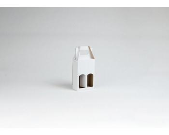 Náhled produktu Papírová krabice na 2 vinné miniatury MINI WHITE - 12 x 18,5 x 6 cm - bílá