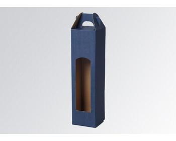 Náhled produktu Papírová krabice na 1 lahev vína WINEBOX BLUE - 8 x 34,5 x 8 cm