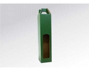 Náhled produktu Papírová krabice na 1 lahev vína WINEBOX GREEN - 8 x 34,5 x 8 cm