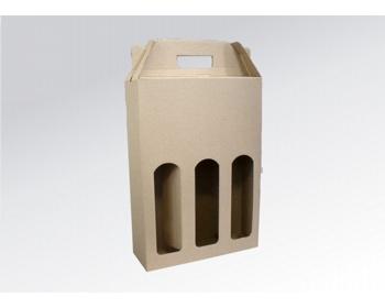 Náhled produktu Papírová krabice na 3 lahve vína WINEBOX NATURA - 24 x 34,5 x 8 cm